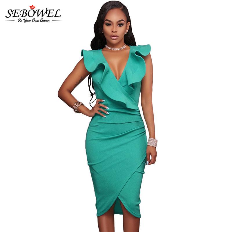 Turquoise-Ruffle-V-Neck-Bodycon-Midi-Dress-LC61474-4-1