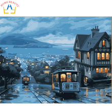 Oil paint painting by numbers diy picture coloring drawing on canvas oil painting by hand landscape craft city road train J047