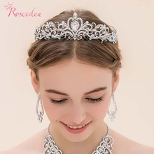 2016 new silver rhinestone wedding Tiaras and Crowns crystal diadem pageant bridal hair accessory for women RE68(China)