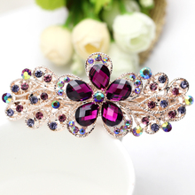 2017 New Direct Selling Plant Fashion Women Hairpin Color Glass Europe The Bride Paragraph Flower Hair Clip Wholesale(China)