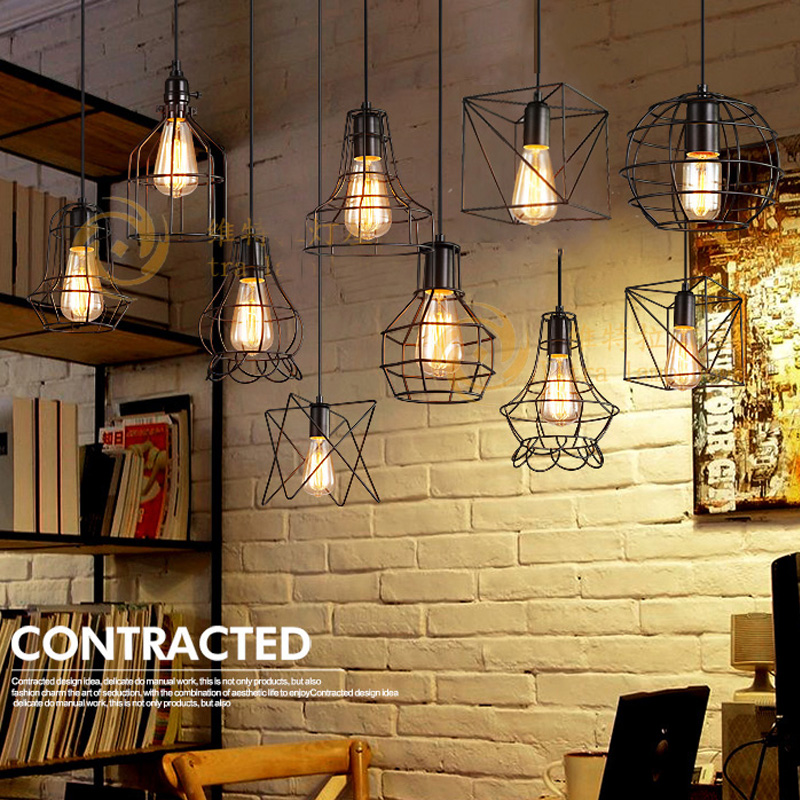 Vintage Loft Pendant Lights Industrial Hanging  Dining Room Black Small Cage suspension luminaire Pendant Lamp Fixtures<br>