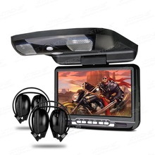 "XTRONS Black Monitors 9"" Digital Screen In Car Roof Mounted Overhead DVD Player with FM IR Transmitte USB Game Disc+2 Headphones"