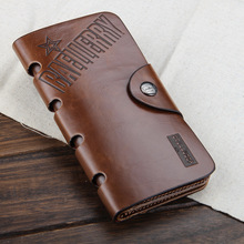 2017 NEW fashion Mens genuine cow Leather long  Wallet Pockets rfid Card Clutch Cente Bifold Purse ,  wholesale WBL9