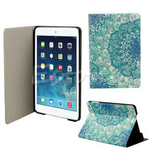 Fashion Green Flower Floral Pattern Flip Stand Leather Case Cover Holster For Apple iPad Mini 123 Retina HOT Tablets CaseGAF5