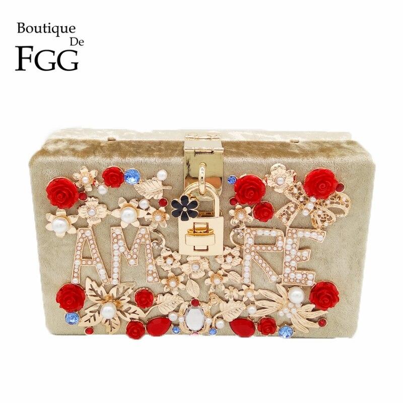Gold Velour Flower Crystal AMRE Letter Women Evening Party Prom Beaded Totes Box Clutch Fashion Shoulder Handbag Crossbody Bag<br>