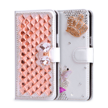 Luxury Wallet PU Leather Rhinestone Diamond case For ZTE Blade X5 D3 Case Cover Filp Holder Stand Card Slot Bling Phone Bag Case