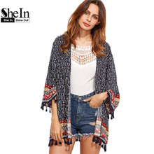 SheIn Clothes for Women Spring Womens Tops and Blouses Navy Tribal Print Long Sleeve Open Front Tassel Trim Vintage Kimono