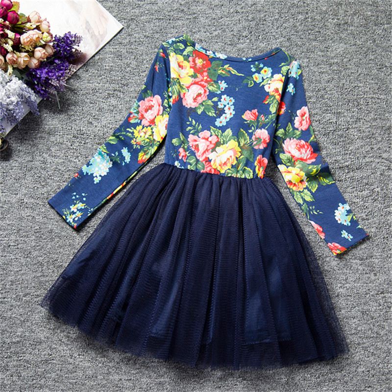 Kids Dresses for Girl Floral Princess Girl Dress Children Clothing Winter Toddler Baby Outfit Clothes Brand Party Tulle Costume 5