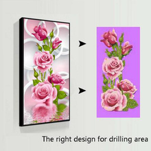 Hot 5D Needlework Diy Diamond Painting Cross Stitch Pink Rose Diamond Embroidery Flower Vertical Print round Drill Home Decor(China)