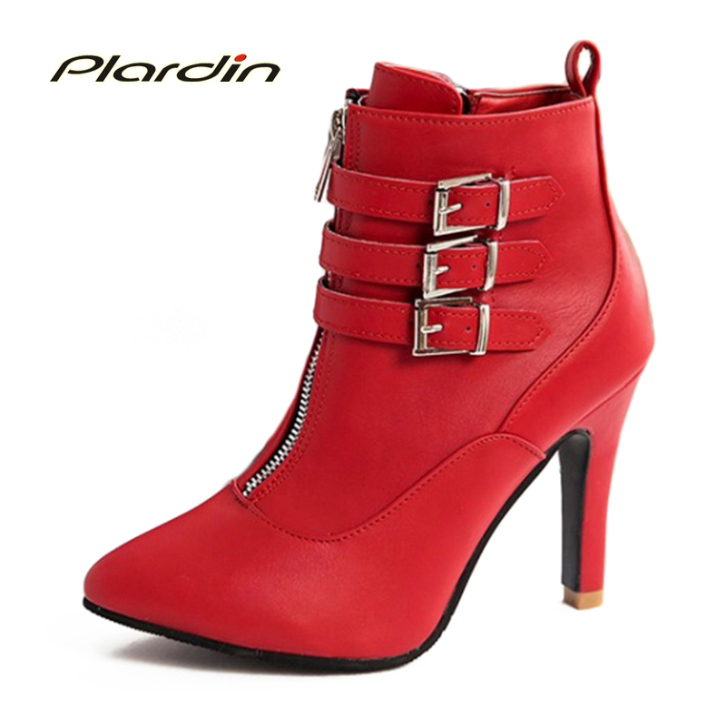 2017 Boots Pointed Shoes Women New Fashion Winter 2017 Womens Boots Belt Buckle Fine With High-Heeled Side Zipper Women Pumps<br><br>Aliexpress