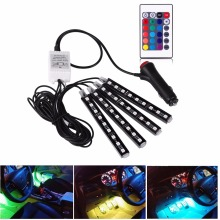 4Pcs 12V Car RGB LED DRL Strip Light 5050SMD Car Auto Remote Control Decorative Flexible LED Strip Atmosphere Lamp Kit Fog Lamp(China)