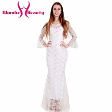 Wonder beauty fashion women spring elegant long sleeve white lace sweet dress slim casual work dress sexy ball party club wear