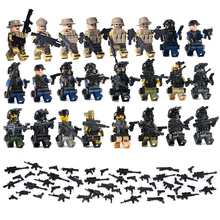 24PCS LegoINGlys Swat Team City Police Armed Assault Army soldiers With Weapons Guns Military Figure WW2 World War Blocks Toys