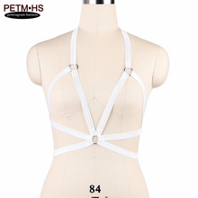 Women Fashion Sexy Body Harness Belt White Elastic Strappy Tops bra Bustier Bondage Lingerie Goth Fetish Exotic Burlesque Corset