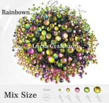 500pcs/bag Rainbow Color Mixed Sizes Glass Rhinstones Flatback DIY Hot Fix Stones 063005022