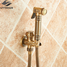 Uythner Newly Arrival Antique Brass Bathroom Bidet Faucet Carved Toilet Clearing Hand Shower Mop Tap Single Cold Faucet(China)