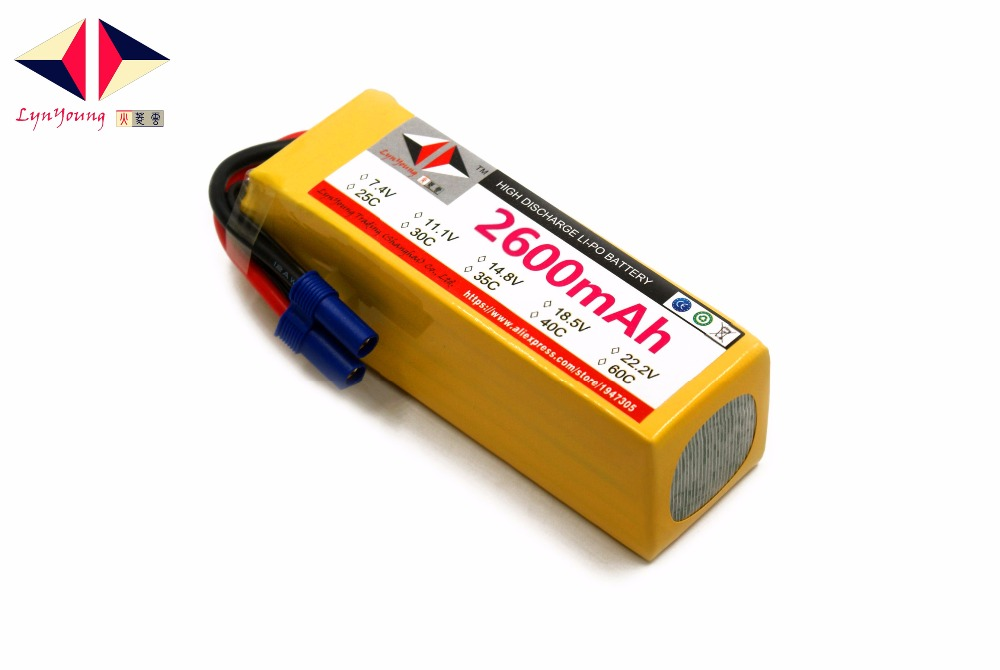 2600mAh 22.2v 30C 6S LYNYOUNG lipo battery for RC Boats 6 Axis Drone Airplane Helicopter Rechargeable Car Quadcopter Truck Tank