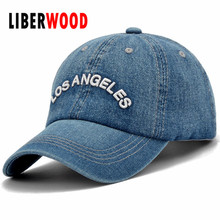 men women Denim Plain Solid Blue Jeans Style Los Angeles Baseball Hat Cap Cowboy Curved Bill Cap Los Angeles(China)