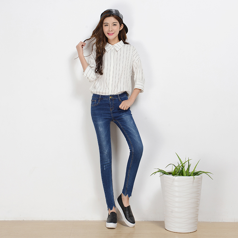 prune leg oppenning skinny ripped jeans for women high waist vintage washed denim pencil pants sexy jeans woman Одежда и ак�е��уары<br><br><br>Aliexpress
