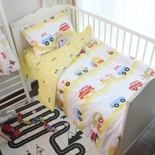 3pcs a set Boy bedding set Baby Bedding Set yello cars design Cotton Crib Bedding Set For Newborn for 120*60cm 130*70cm bed(China)