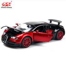 Double Horses Bugatti Veyron 1:32 Original alloy car model light&sound pull back Supercar W16 Kid Toys free shipping VB32041