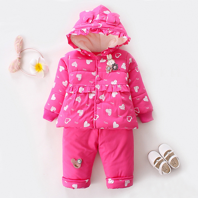 Winter New Girls Coat Baby Outerwear Pants 2 Pcs Sets Korean Childrens Clothing 0-3 Years<br>
