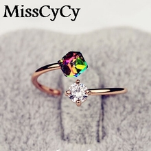 MissCyCy 2016 New Fashion Jewelry Luxury Design Rose Gold Color Bow Zircon Rings For Women