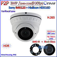 IMX123 3.2MP Sensor 3MP camara ip ONVIF 2.4 Hi3516D surveillance Varifocal Lens 2.0MP 1080p ip camera SMD IR LED, WDR, P2P, PoE