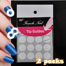 2 Packs White French Nails Art Tips Tape Manicure Sticker Guide Stencil Charming DIY Round W10