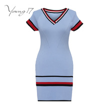 Buy Young17 bodycon knitted dress blue striped knitted sweater pullover female party sexy elegant autumn new knitted bodycon dress for $19.36 in AliExpress store
