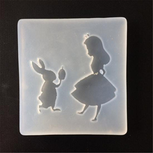 DIY Transparent Silicone Glue Super Clay Crystal Pendant Decorative Accessories Mold Girl and Rabbit Cake Decorating ToolsQ080