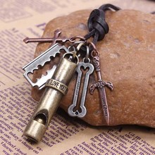 New ethnic retro leather necklace 4pcs top quality pendant delicate sword Knife Whistle pendant men sieraden friend gift(China)