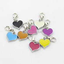 Free Shipping!!MIX Color Heart  Floating Dangle charm With Silver Lobster Clasp For Thomas charm Bracelets