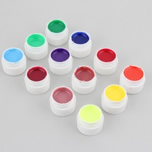 Top Quality!!! 1set 12pcs Transparent Glittery Solid Pure UV GEL Solid color glue Extension DIY Builder Nail Art