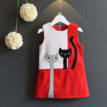 Toddler Girl Dresses 2016 Christmas Baby Girl Autumn Costume Patchwork Princess Dress Lovely Cat Dress Girl Children 2-8Years