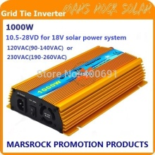 1000W Micro grid tie Solar Inverter, Pure Sine Wave, MPPT function for 18V(10.5V~28VDC), 90V-140V/180V~260VAC, 50Hz-60Hz