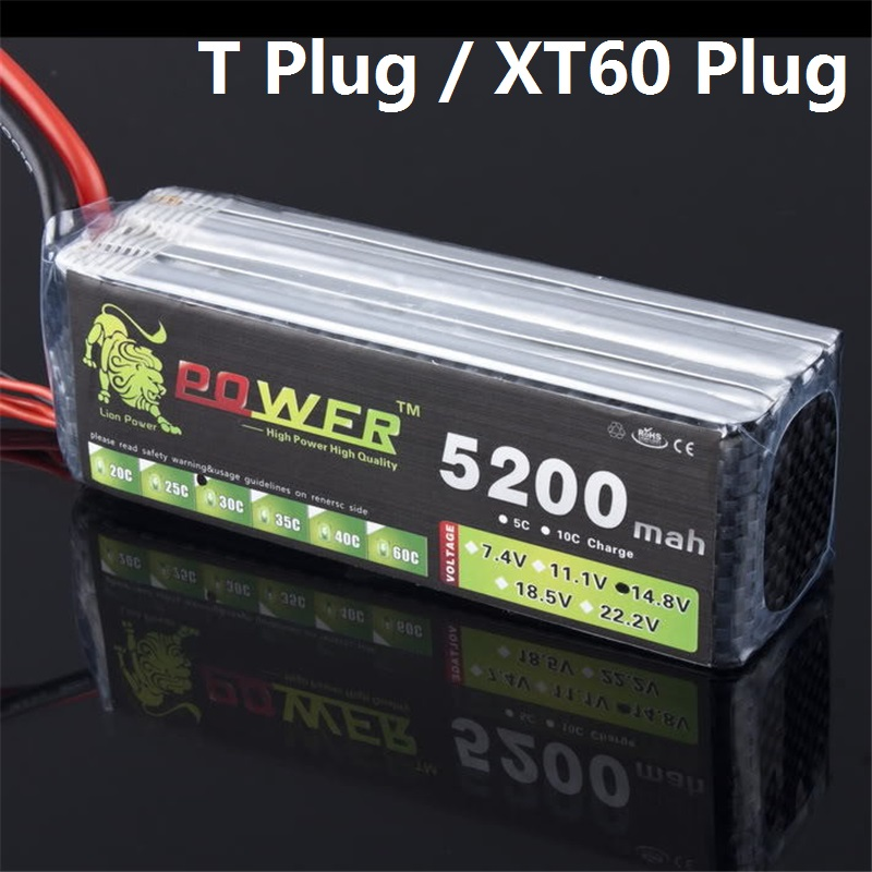 LION POWER Lipo Battery 4S 14.8v 5200mah 30c T Plug/XT60 Plug RC Helicopter RC Car RC Boat Quadcopter Remote Control toys Battey<br>