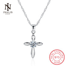 INALIS Cross Simple Cubic Zirconia Pendant 925 Sterling Silver Necklace Fine Chain Fashion Jewelry Gift for Women