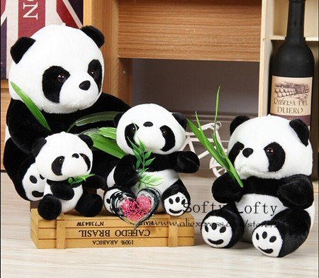 Free shipping big 30cm lovely panda vs bamboo leaves plush animal stuffed toy gift friend kids children girls birthday party boy<br><br>Aliexpress