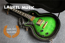 Custom Shop LP Left Handed Guitar Green Finish and Binding With Ebony Fretboard & Black LP Hard Case(China)