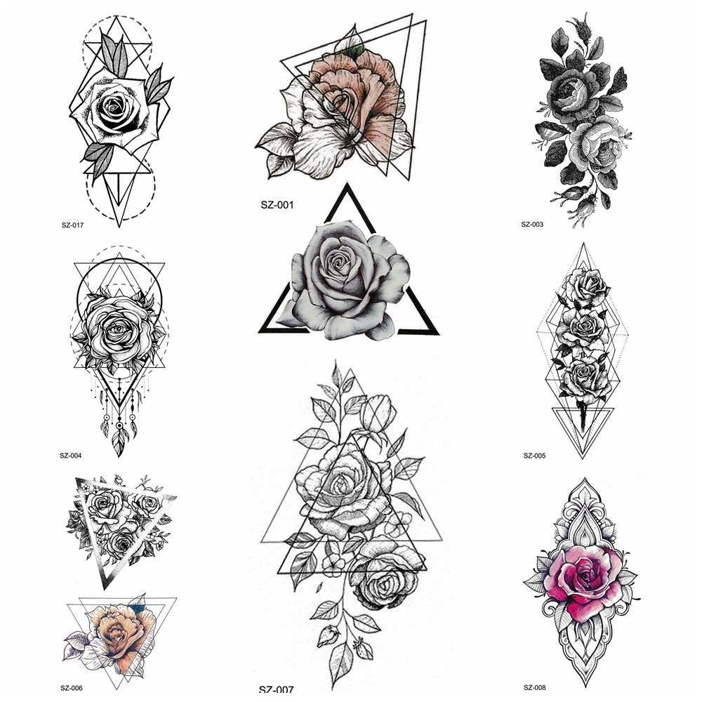 Detail feedback questions about black tattoo stickers pencil sketch temporary tattoo women body art painting girls arm geometric flower waterproof tatoos
