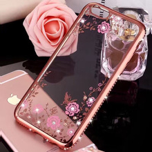 Luxury Glitter Diamond Frame Case Cover For iphone 5 5s se 6 6s plus 7 7plus Soft Silicone Transparent Rhinestone flower pattern(China)