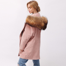 CNEGOVIK women parka fur inside real Lamb fur kid skin Lining real raccoon fur hooded parka terylene corduroy(China)