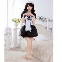 Sexy Kimono Costume French Maid Partywear Lace Cosplay Servant Fancy Dress Garter Outfit sexy maid costume women lingerie(China)
