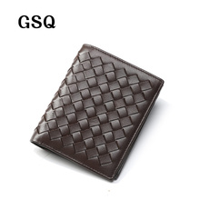 GSQ Hand Made Weave Genuine Leather Men Short Wallet High Quality Promotion Money Clip Cowhide Leather Men Purse Best Gift Q356