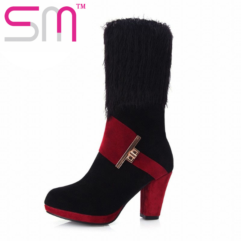 2 Styles Fashion Women Wool Knit Half Knee Boots Thick High Heels Platform Shoes Woman Autumn Winter Boots Party Wedding Shoes<br><br>Aliexpress