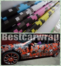 1.52x5m Digital Camouflage Car Wrap Film VARIOUS COLOURS Red / orange & purple With Air BUBBLE Free  Truck Car Wrapping Vinyls