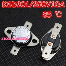 Free Shipping 10pcs/lot KSD301 85 degrees Celsius 85 C Normal Close NC Temperature Controlled Switch Thermostat 250V 10A(China)