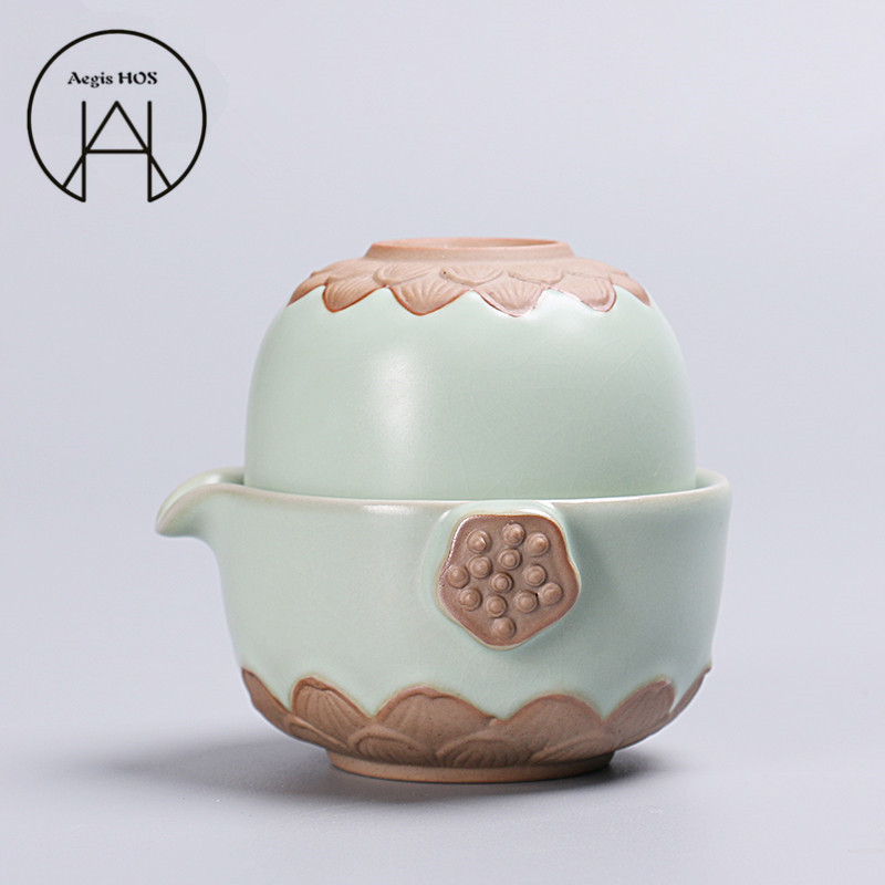 Aegis HOS-Pottery Kung Fu Tea Sets One Cup One Pot Set Chinese Wind Travel Tea set meal Emerald Green mug Round Teapot Cups gift