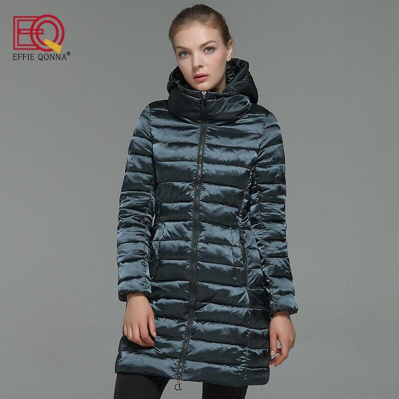 EFFIE QONNA 2017 New Fashion Dark Green Winter Women Slimming Long Sleeve Parkas Ladies Navy Blue outwear Fall Coats Plus SizeÎäåæäà è àêñåññóàðû<br><br>